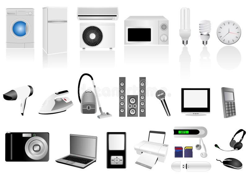 Set ausführliche elektronische Elemente stock abbildung