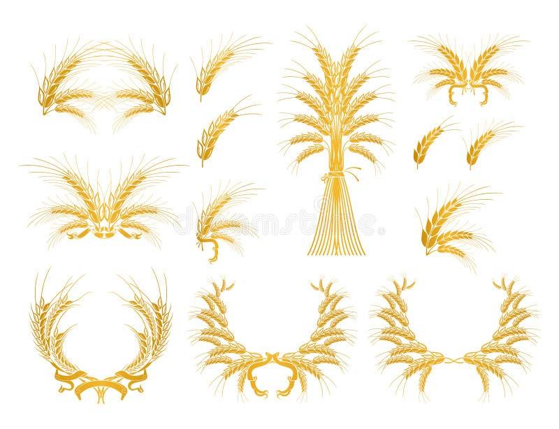 Set Auslegung-Elemente mit Weizen lizenzfreie abbildung