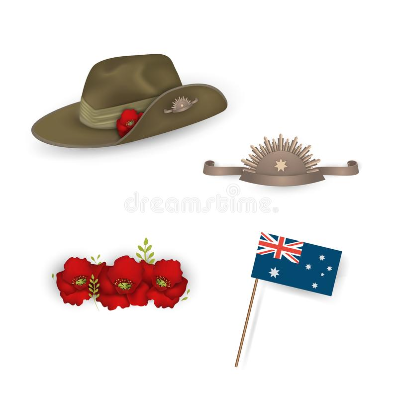 Set of australian flag, Anzac australian army slouch hat with red poppy, Decorative anzac poppies flowers isolated. Design elements for Anzac Day or vector illustration