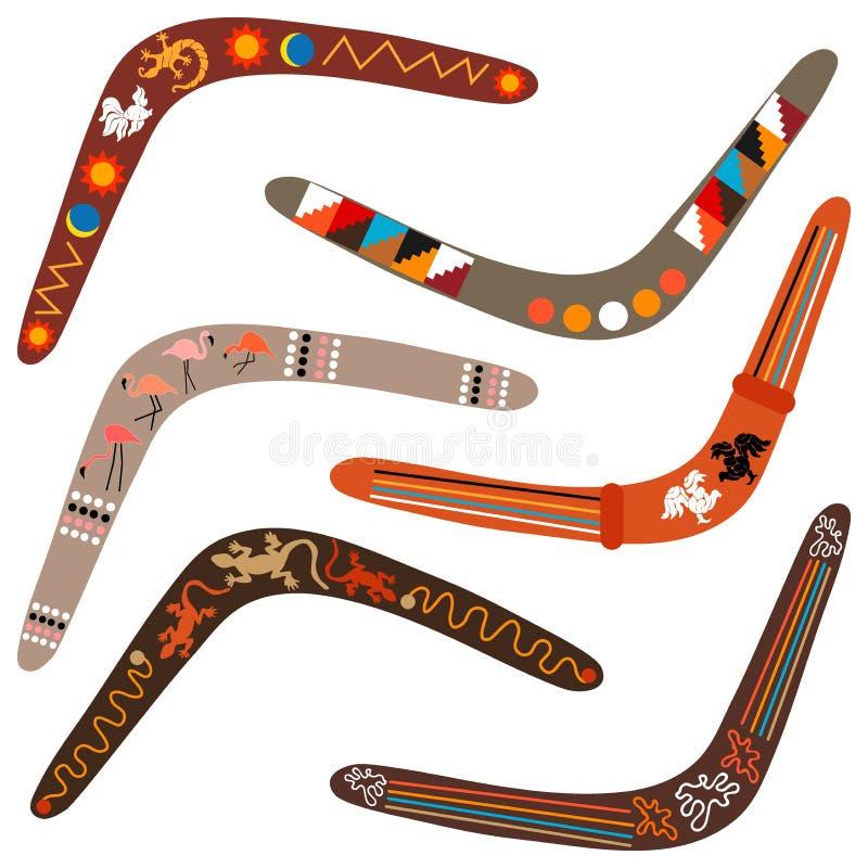 Set Australijscy bumerangi royalty ilustracja