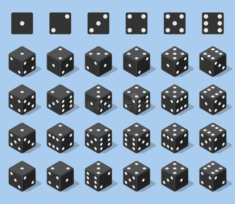Set 24 authentic icons of dice in all possible turns. Twenty four variants loss dice. Black game cubes isolated on blue vector illustration