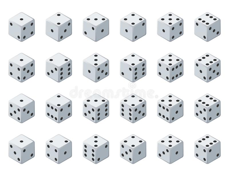 Set 24 authentic icons of dice in all possible turns. Twenty four variants loss dice. White game cubes isolated on white royalty free illustration