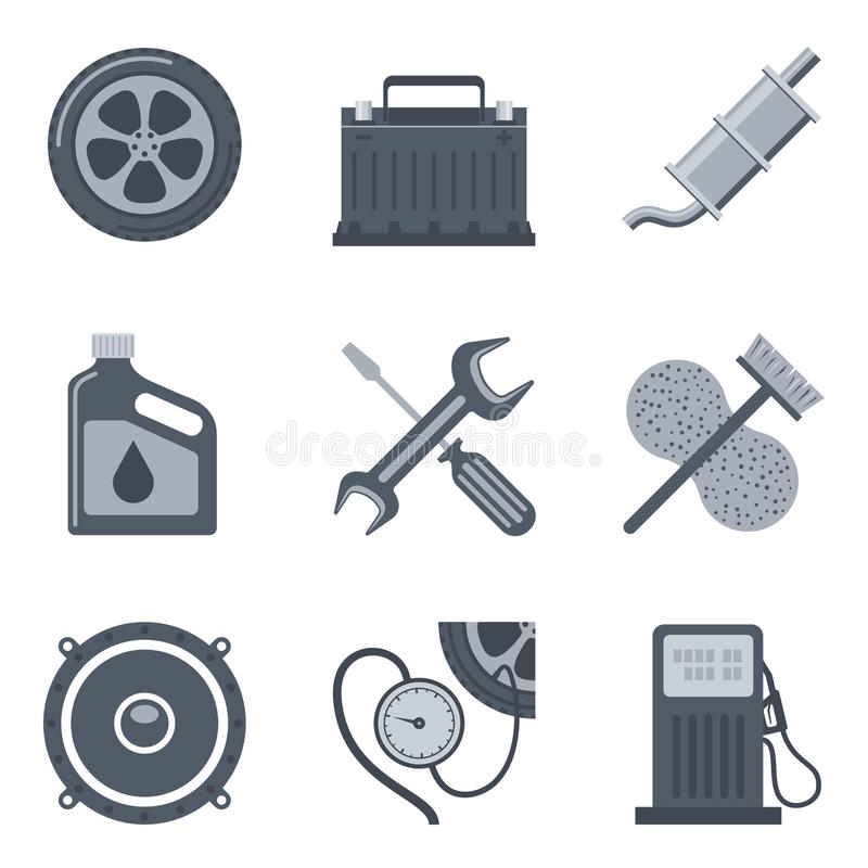 Set of auto icons isolated on white background. Quick car service vector signs vector illustration