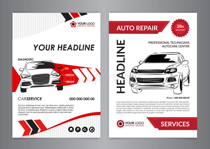 Set A4 Auto Repair Business Layout Templates, Automobile Magazine ...