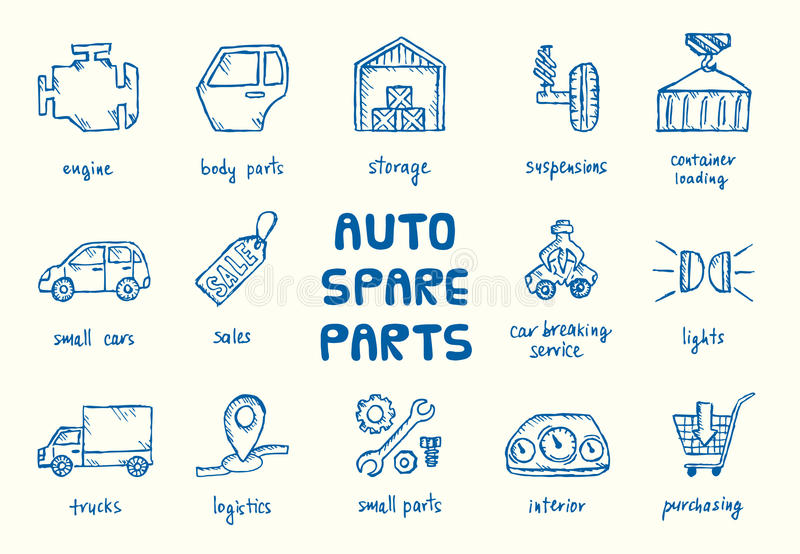 Set of auto spare parts. vector illustration