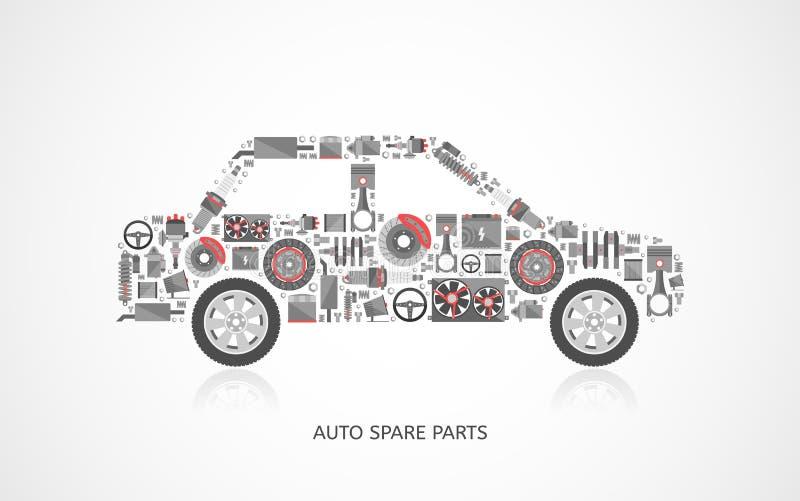 Auto Repair Parts : Set of auto spare parts stock vector illustration
