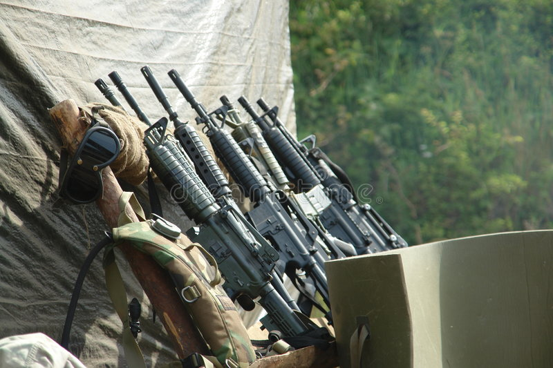 Set of automatic guns, old, WWII royalty free stock photography