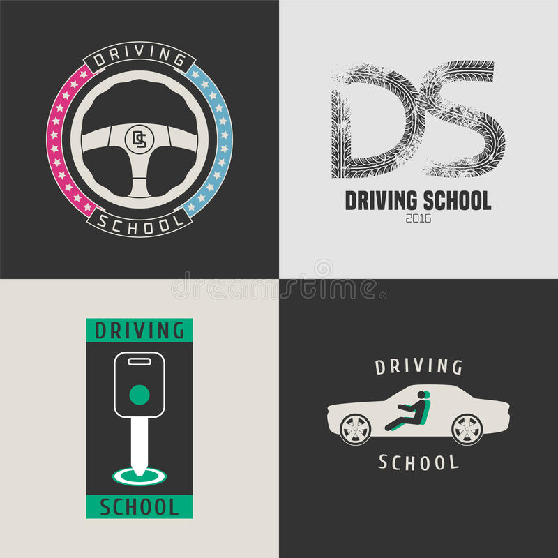 Set of automobile driving school vector icons vector illustration