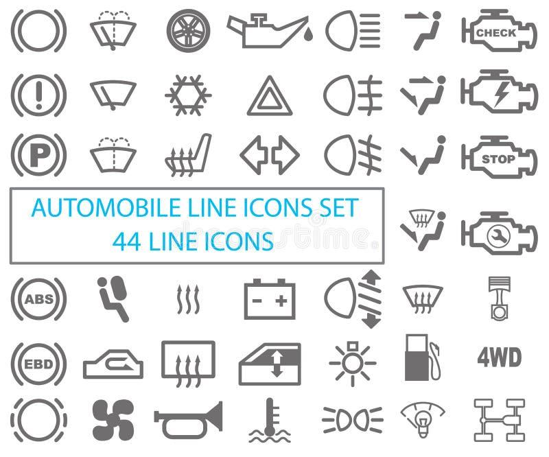 Set automobilowe ikony Rysować na białym tle ilustracja wektor