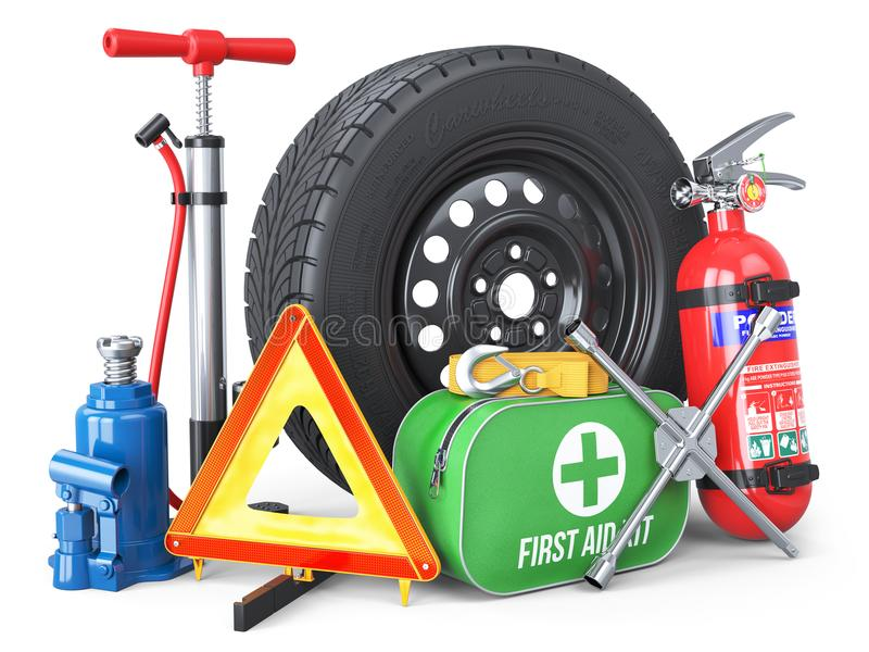A set of automotive accessories. Spare wheel, fire extinguisher, first aid kit, emergency warning triangle, jack, tow rope, wheel vector illustration