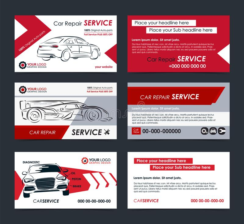 Set of Automotive Service business cards layout templates. Create your own business cards. royalty free illustration