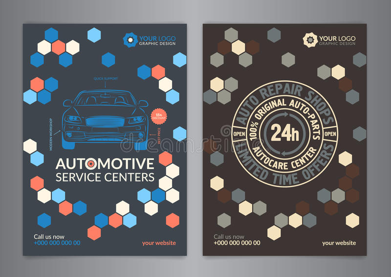 Set Automotive Service Centers business layout templates. A5, A4 auto repair shop Brochure templates, automobile magazine cover. stock illustration