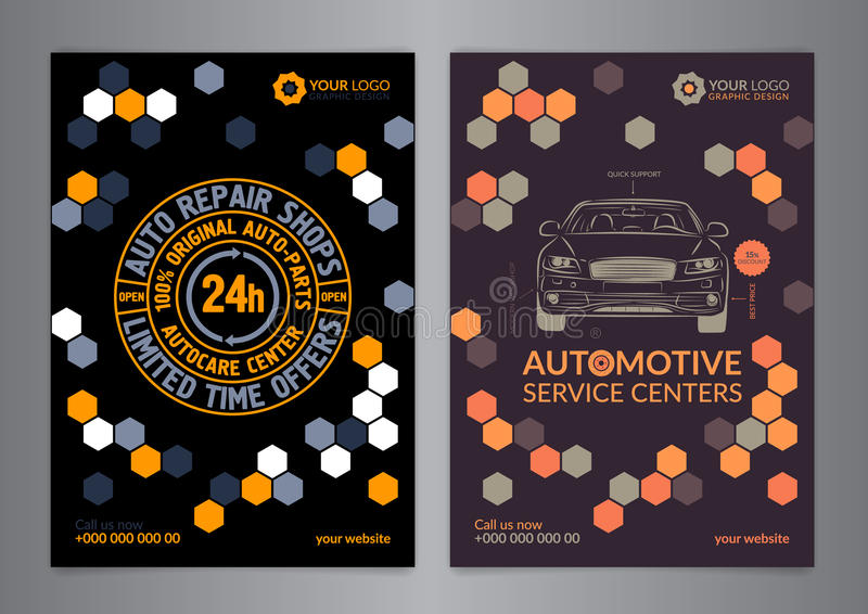 Set Automotive Service Centers business layout templates. A5, A4 auto repair shop Brochure templates, automobile magazine cover. vector illustration