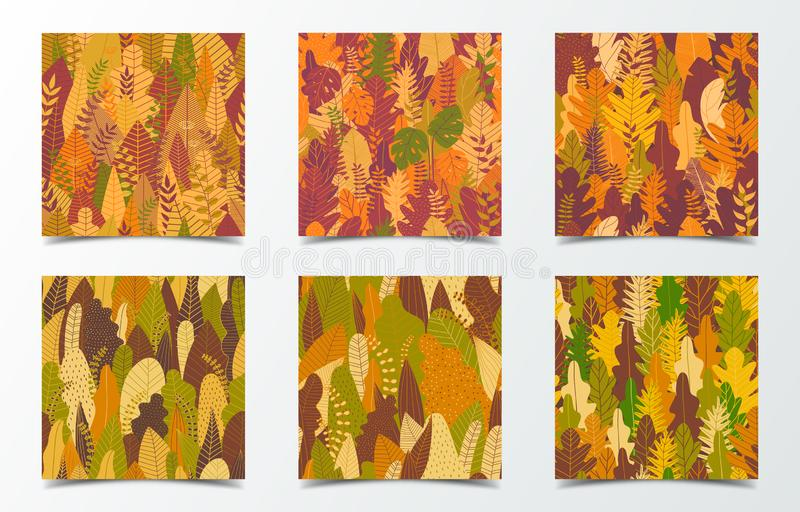 Set of autumn background for social media banner. Autumn pattern with yellow tree and forest. Square multipurpose background. Vector illustration stock image
