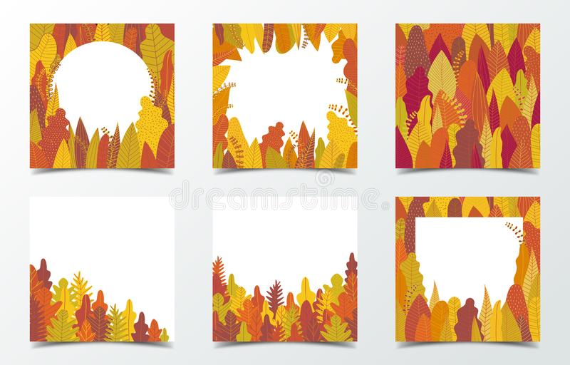 Set of autumn background for social media banner. Autumn pattern with yellow tree and forest. Square multipurpose background. Vector illustration stock photo