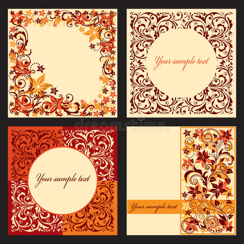 Set of autumn cards. vector illustration