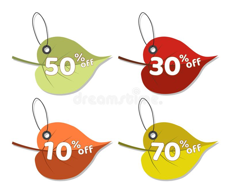 Set of autumn discount tags with colorful leaves stock illustration