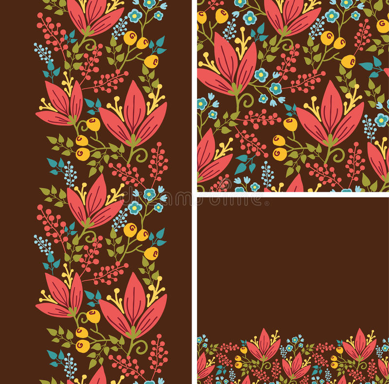 Set of autumn flowers seamless pattern and borders