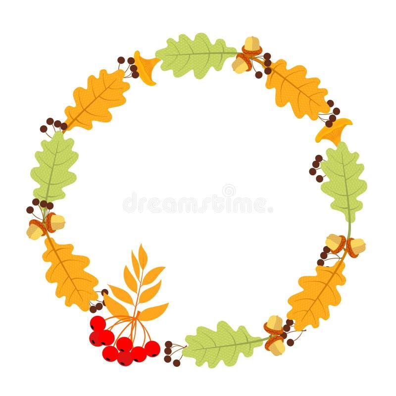 Frame made of natural autumn materials. Leaflets, twigs, mushrooms, acorns vector illustration