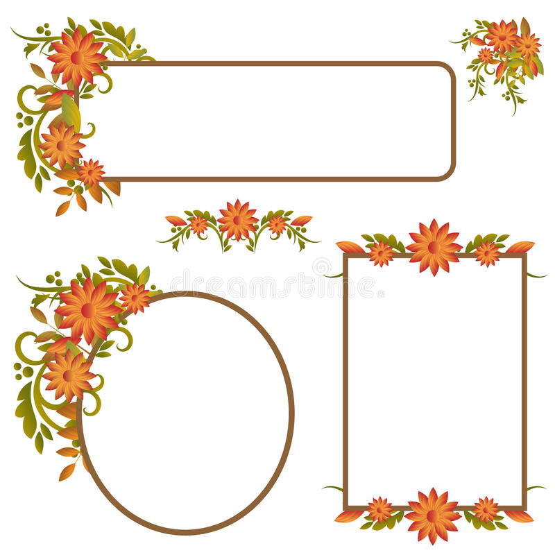 Set of autumn frames or banners. With autumnal leaves,isolated on white background.EPS file available