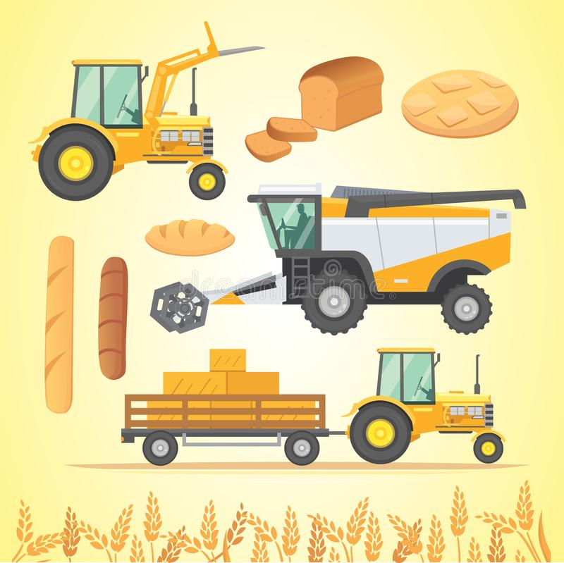 Set autumn harvesting. Farm agricultural machines and vehicle. Farming machine harvester, combine and tractor. royalty free illustration