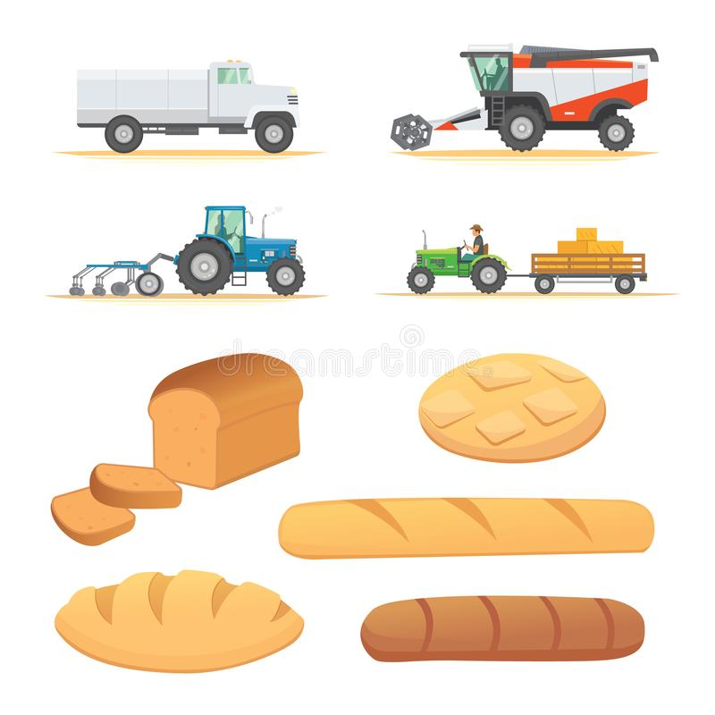 Set autumn harvesting. Farm agricultural machines and vehicle. vector illustration