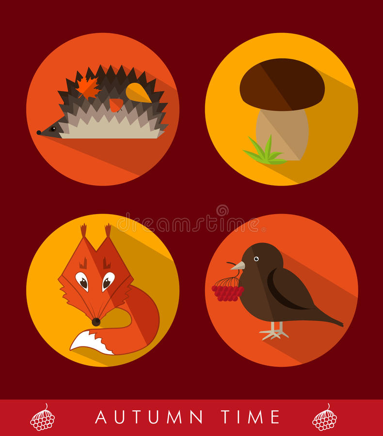 Set of autumn icons vector illustration