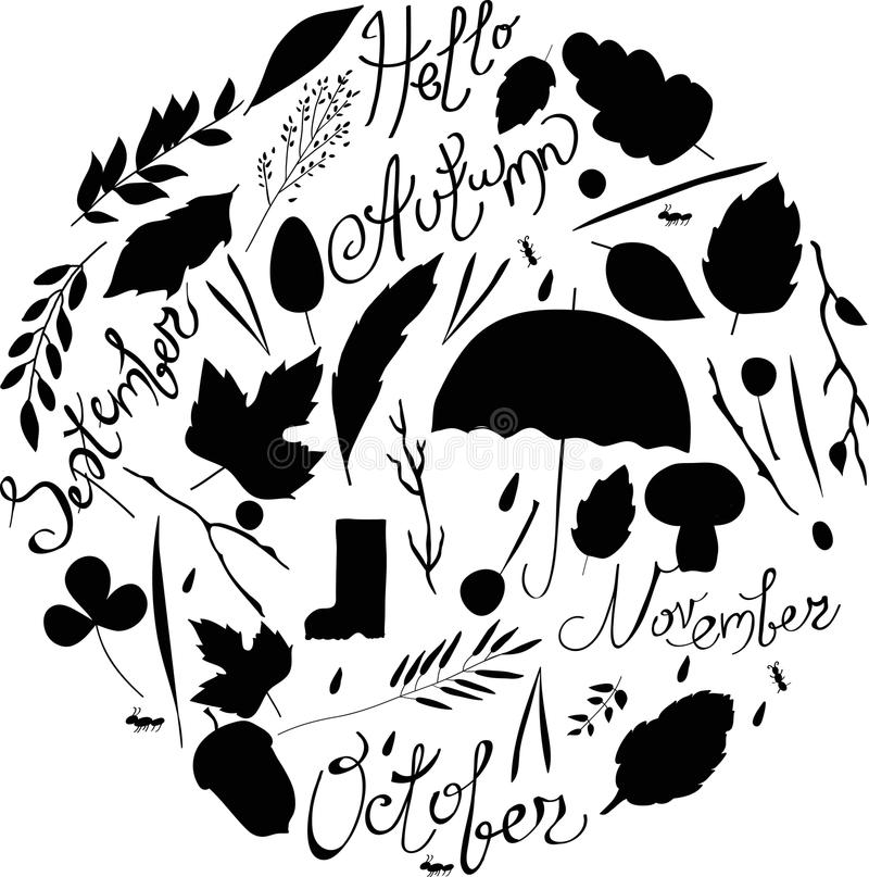 Set of autumn items. black and white silhouettes. illustration leaves, branches, rain, characters. inscriptions vector illustration