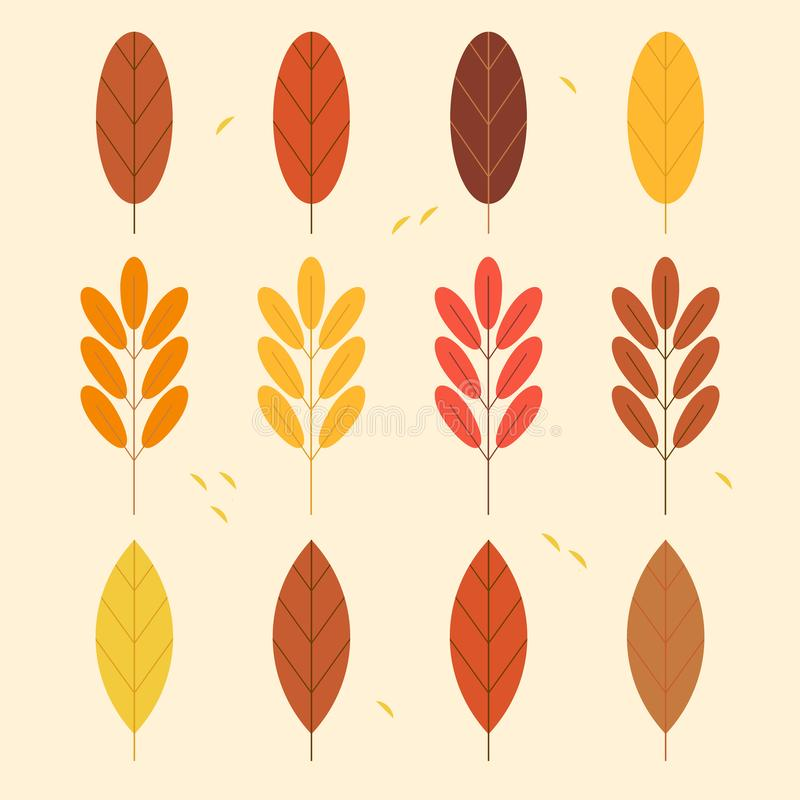 Set of Autumn Leaves. Trendy 2019 Colours royalty free illustration