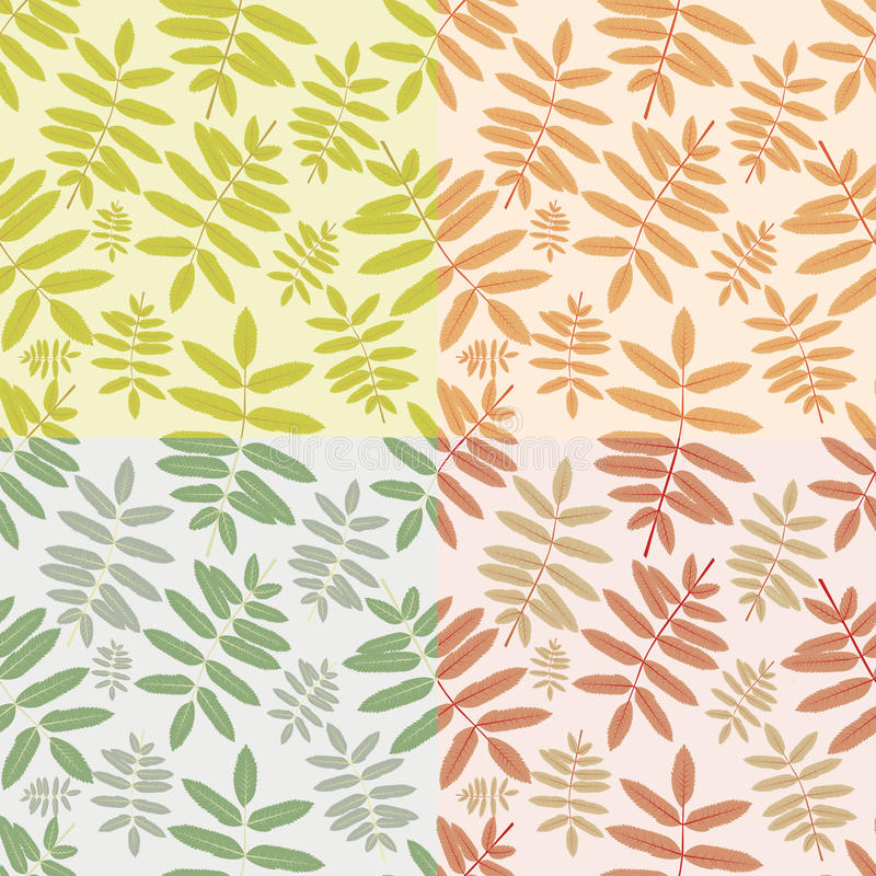 Set of autumn seamless patterns with leaves royalty free stock photo