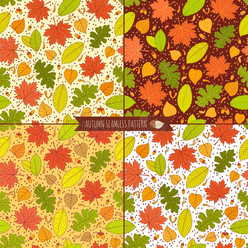 Set of autumn seamless patterns with seeds and leaves stock illustration