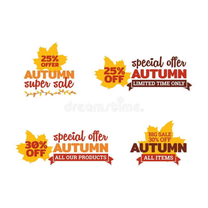 Set of autumn super sale. typography badge with dry leaf and ribbon ornament. element for online shop web, banner, poster. Flyer design vector illustration