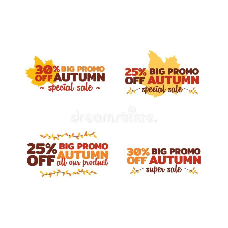 Set of autumn super sale. typography badge with dry leaf twigs ornament. element for online shop web, banner, poster, flyer. Design royalty free illustration