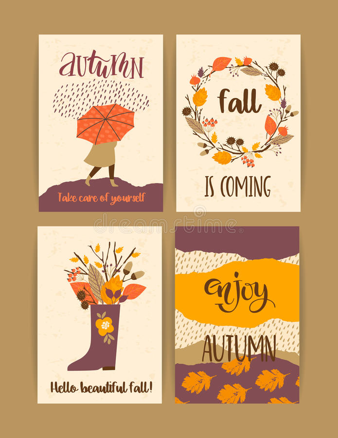 Set of autumn templates. Vector design for card, poster, flyer, web and other users. vector illustration