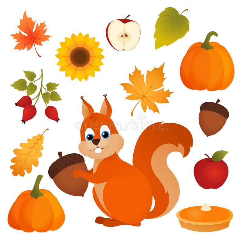 Set of autumn vector icons vector illustration