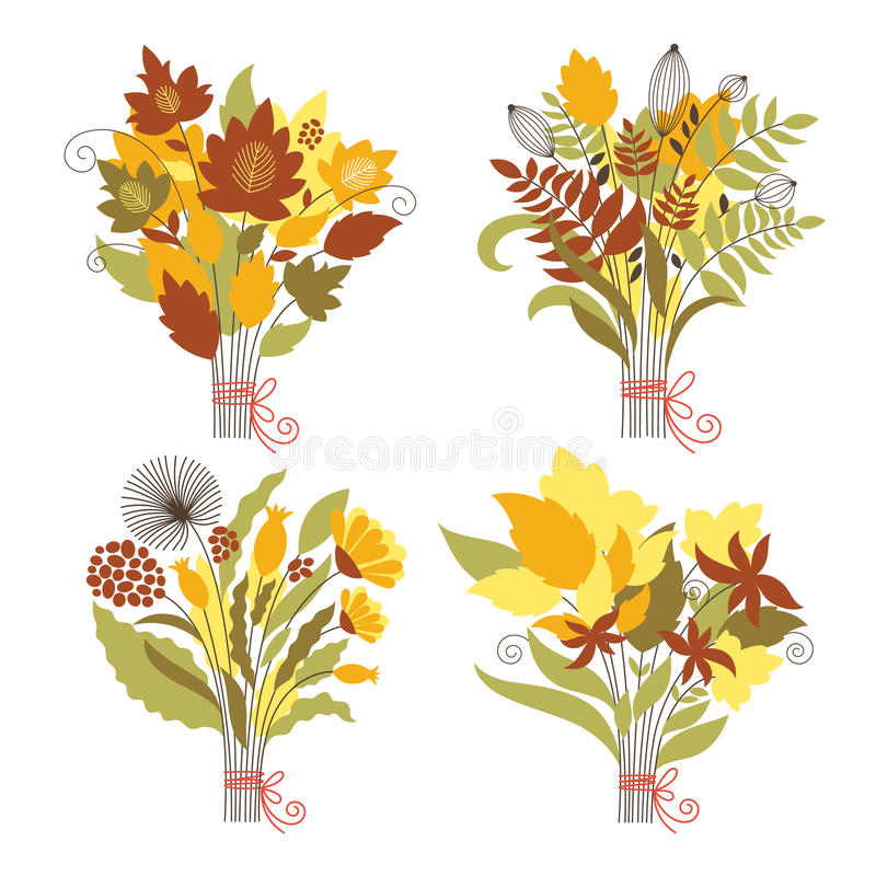 Set of an autumnal bouquets royalty free illustration