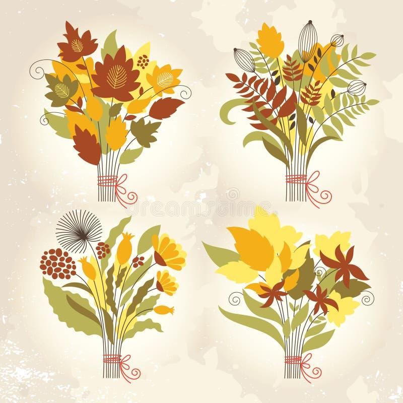 Set of autumnal bouquets stock illustration