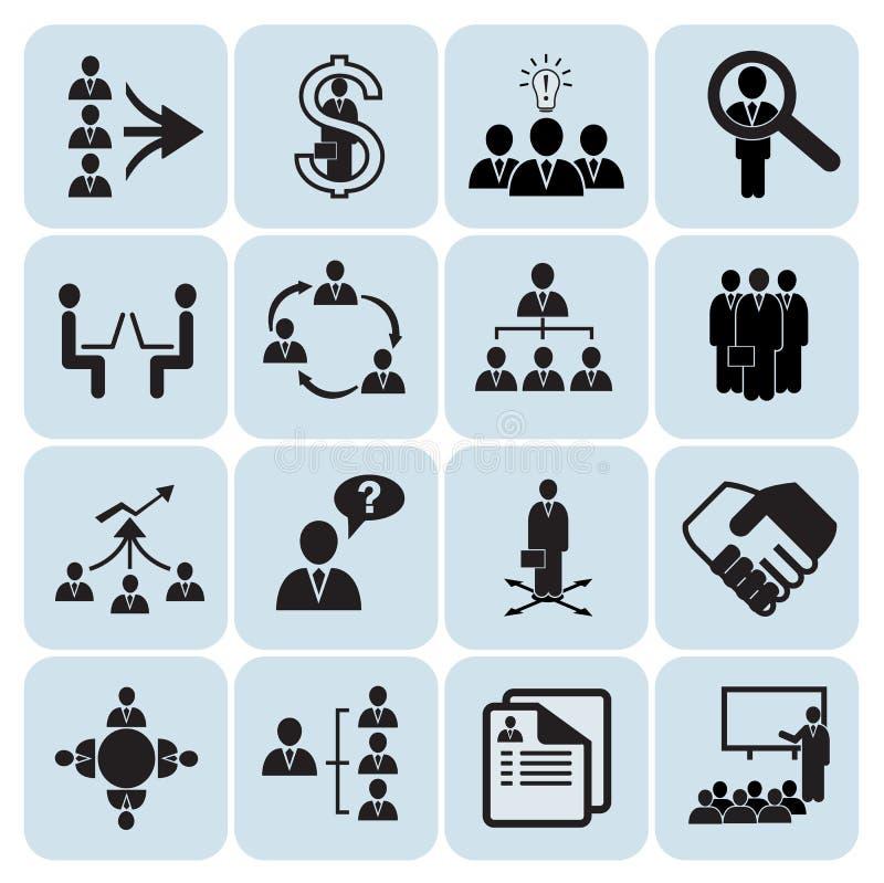Set av 16 administration och personalresurssymboler royaltyfri illustrationer