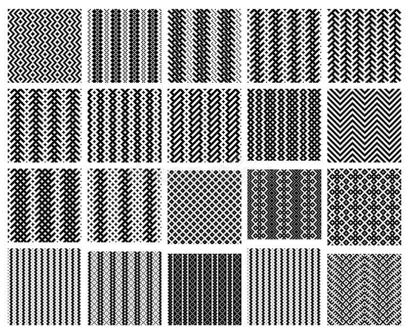 Set av 20 seamless modeller för monokrom enkelt royaltyfri illustrationer