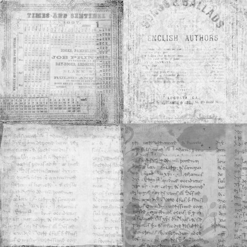 Set av 4 antika tappningmanuskripttexturer stock illustrationer