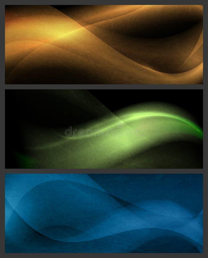 Set av abstrakt wavemodeller på mörk bakgrund royaltyfri illustrationer