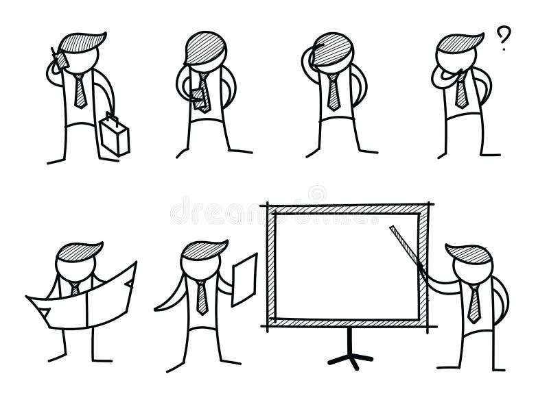 Set av aktiviteter för affärsman royaltyfri illustrationer