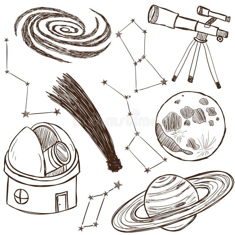 Set av astronomical objekt royaltyfri illustrationer