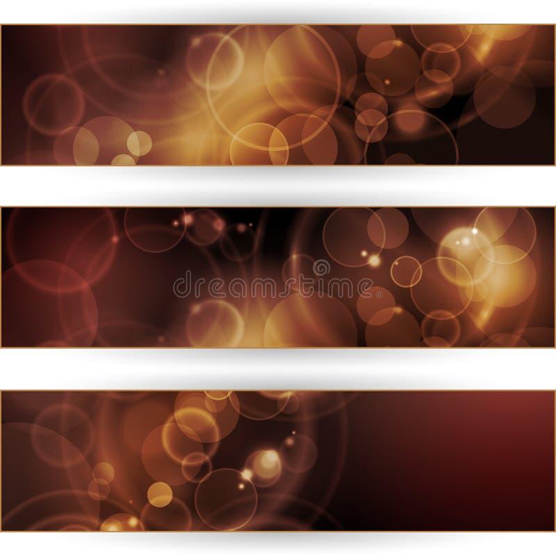 Set av baner för sepiasignalbokeh royaltyfri illustrationer