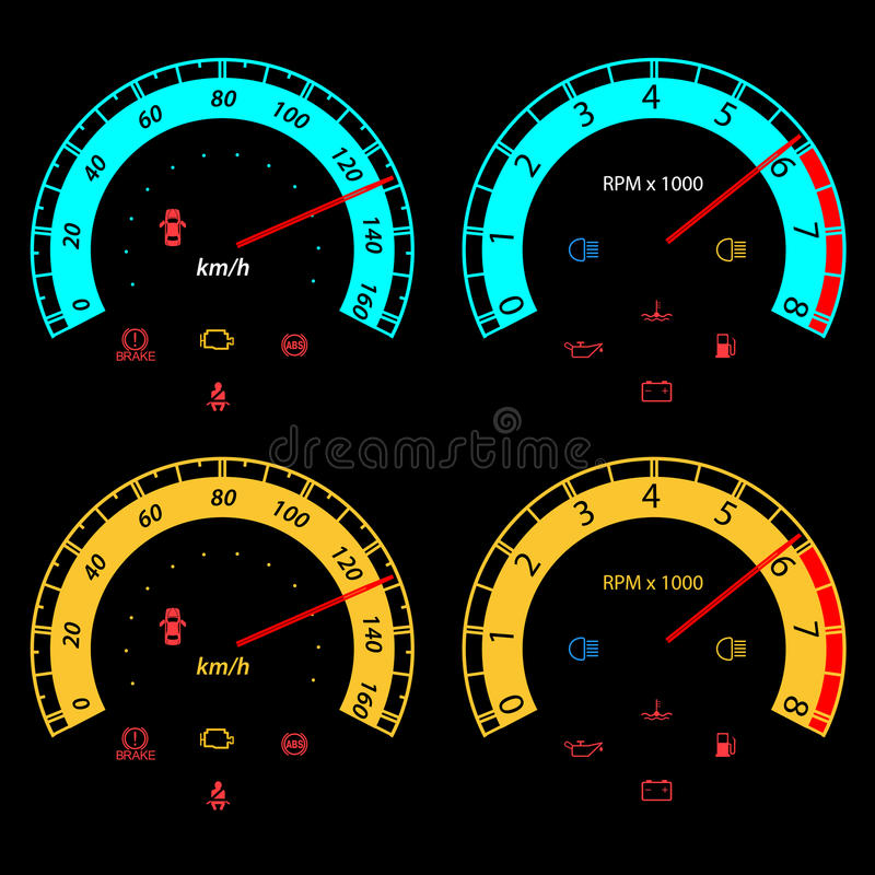 Set av bilspeedometers för tävlings- design. stock illustrationer