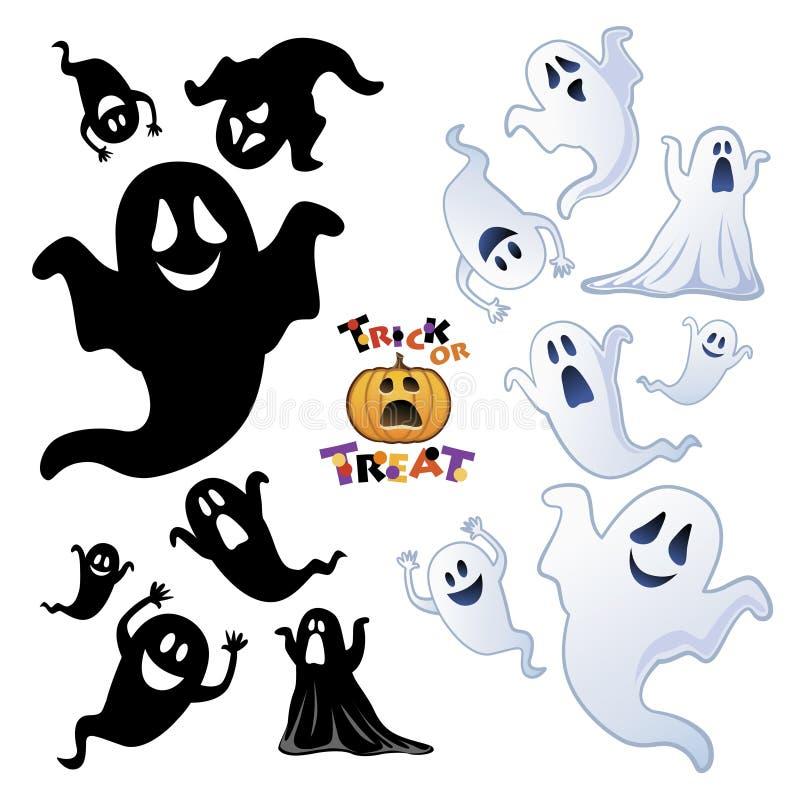 Set av den Halloween spöken, spökesilhouette vektor illustrationer
