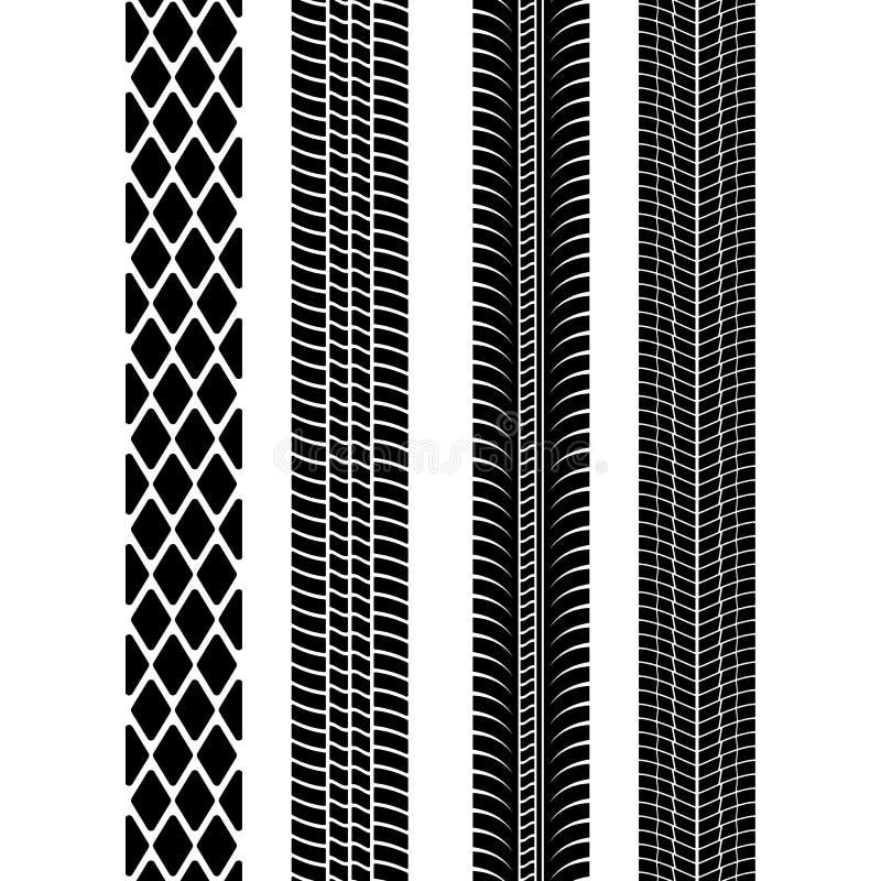 Set av detaljerade gummihjultryck Modern gummihjuldäckmönster Gummihjulfläcksvart också vektor för coreldrawillustration stock illustrationer