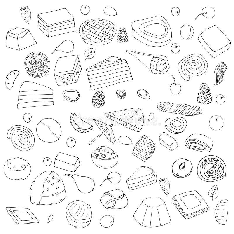 Set av efterrätter Kakor, söta rullar och pajer, kex och berrie stock illustrationer