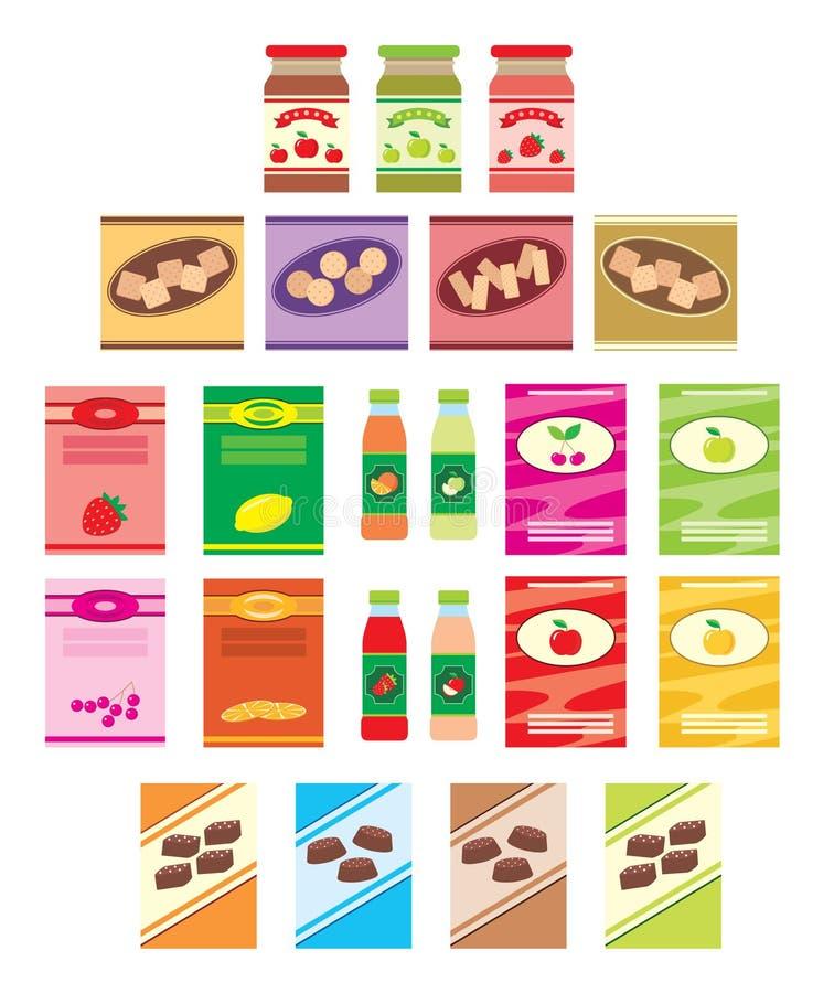 Set av emballage av produkter royaltyfri illustrationer