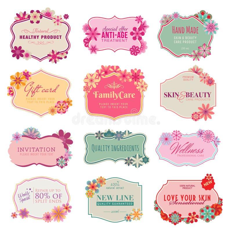 Set av etiketter och etiketter stock illustrationer